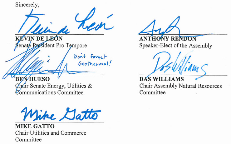 "California lawmakers' signatures. ""Don't forget geothermal!"""