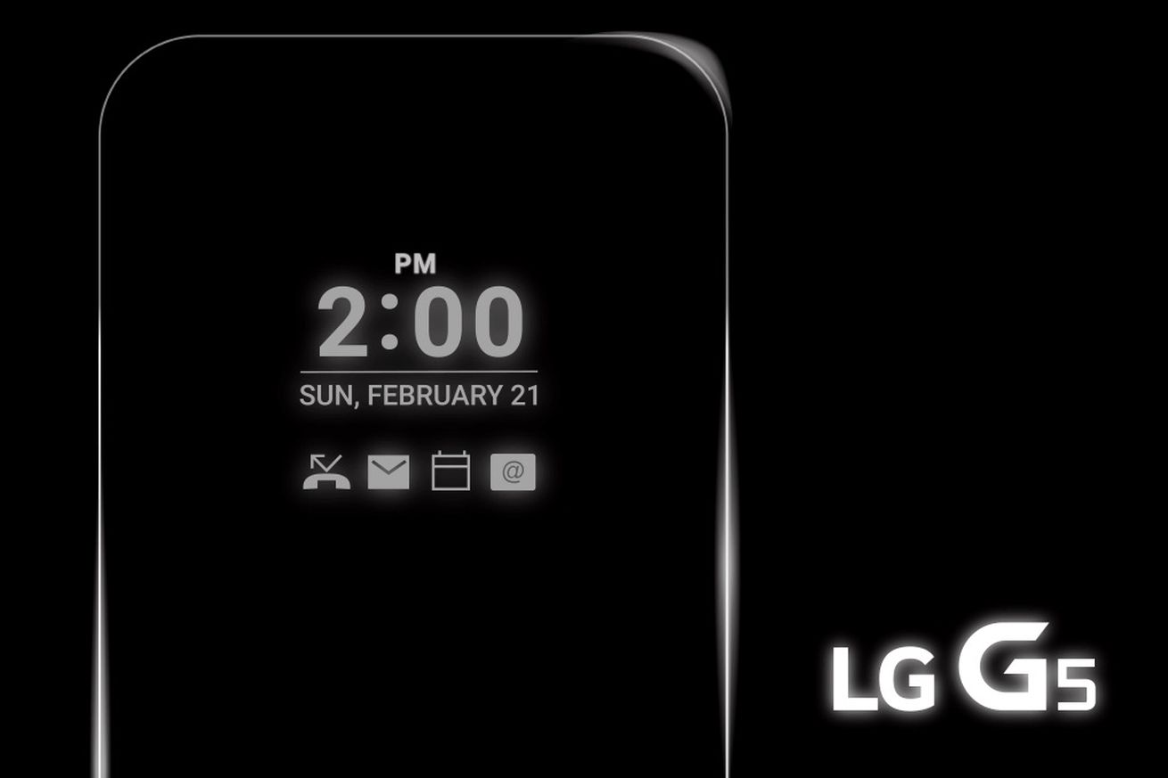 The LG G5's screen is 'always on'
