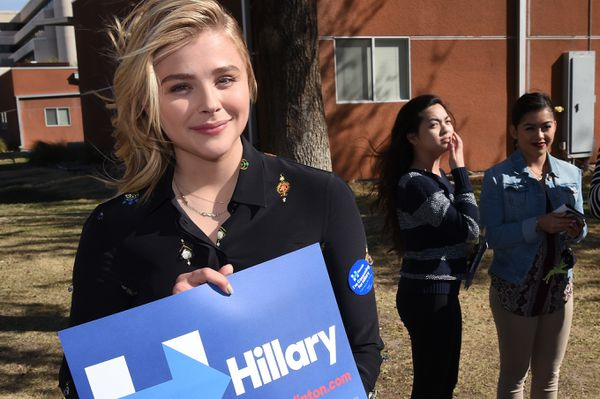 Chloe Grace Moretz campaigns for Hillary at the University of Nevada Las Vegas.