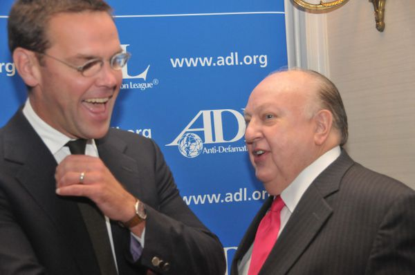 Ailes (right) and James Murdoch, in happier times.