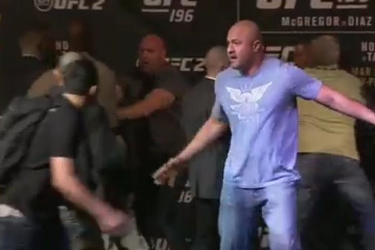 community news, Raw video: Conor McGregor vs Nate Diaz staredown erupts into chaos at UFC 196 presser