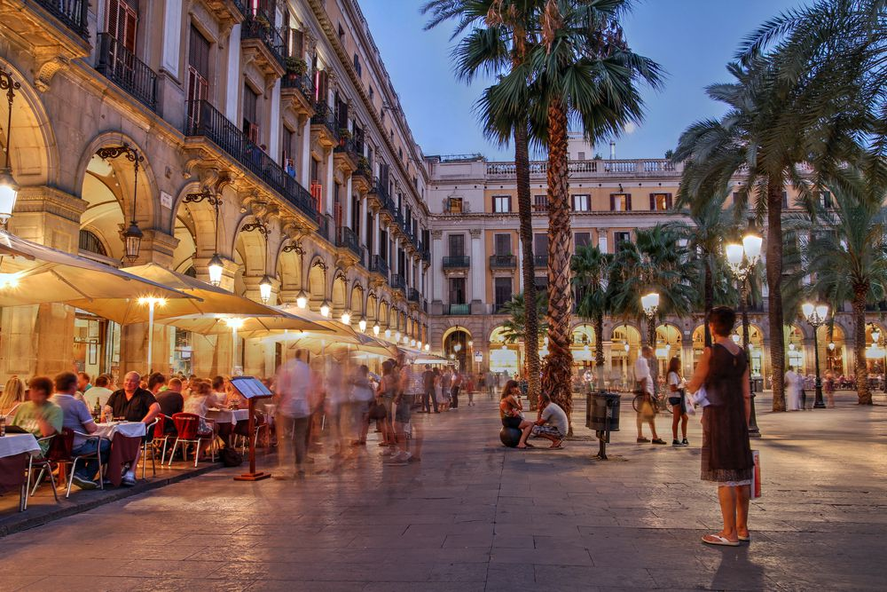 Placa Reial (Royal Plaza), in Barcelona, Spain.