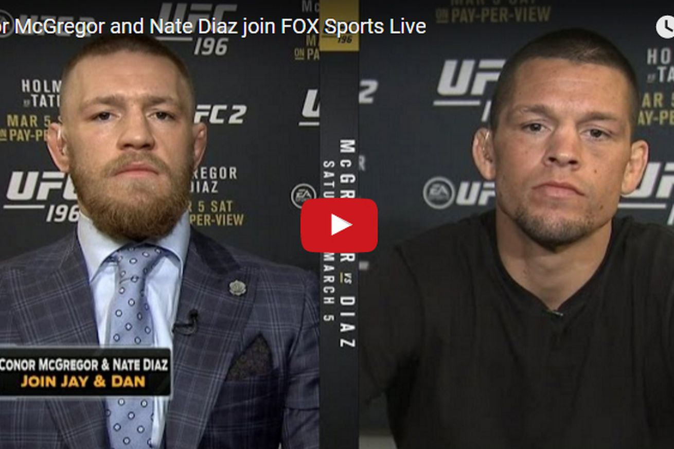 community news, Video: Conor McGregor and Nate Diaz awkward, profanity laced UFC 196 interview on FOX Sports Live