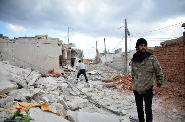Destroyed buildings in Aleppo.