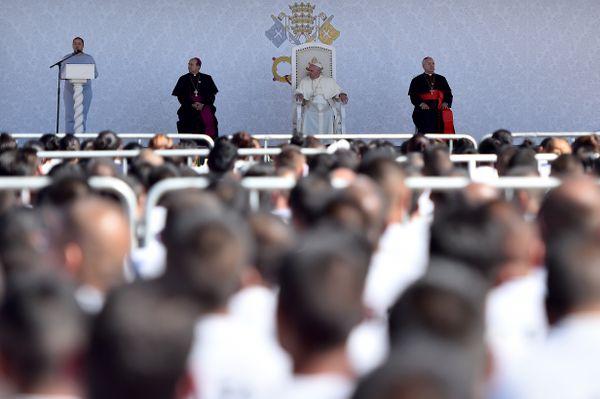 Pope Francis visits the Cereso No. 3 penitentiary in Ciudad Juárez, Mexico
