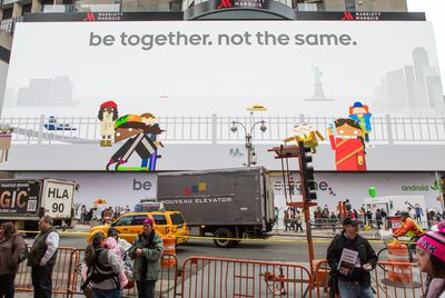 This is Google's massive Android billboard in Times Square
