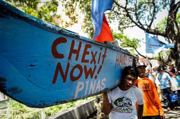 An anti-China protest in at the Chinese consulate in Manila, Philippines, objecting to China's claims in the Spratly Islands.