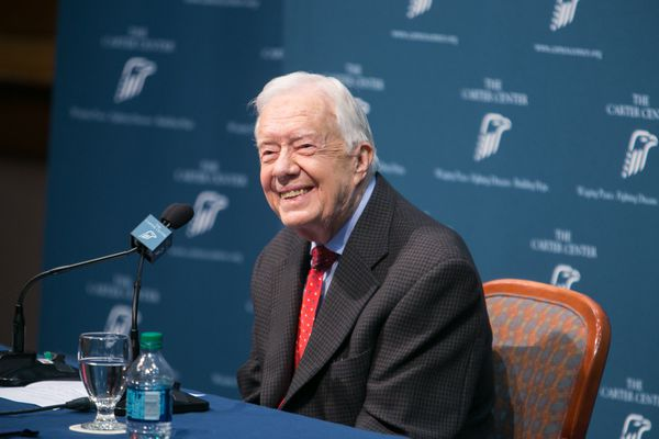Jimmy Carter at the press conference where he announced his skin cancer had spread to his brain and liver.