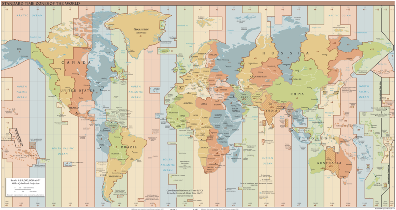 A map of time zones.
