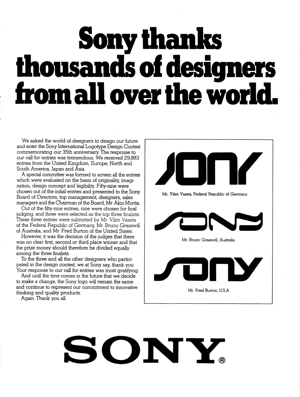 sony asked the public to redesign its logo in 1981  it didn u0026 39 t work out