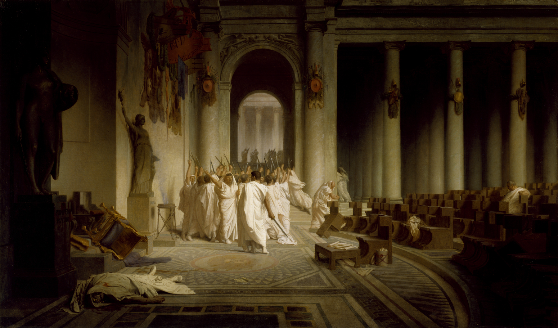 Gerome's Painting of the assassination of Caesar