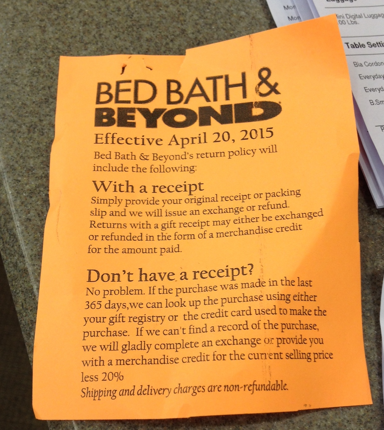 Return Policy Without Receipt At Bed Bath And Beyond