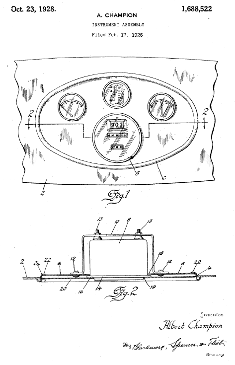 Detail from one of Albert Champion's dashboard patents