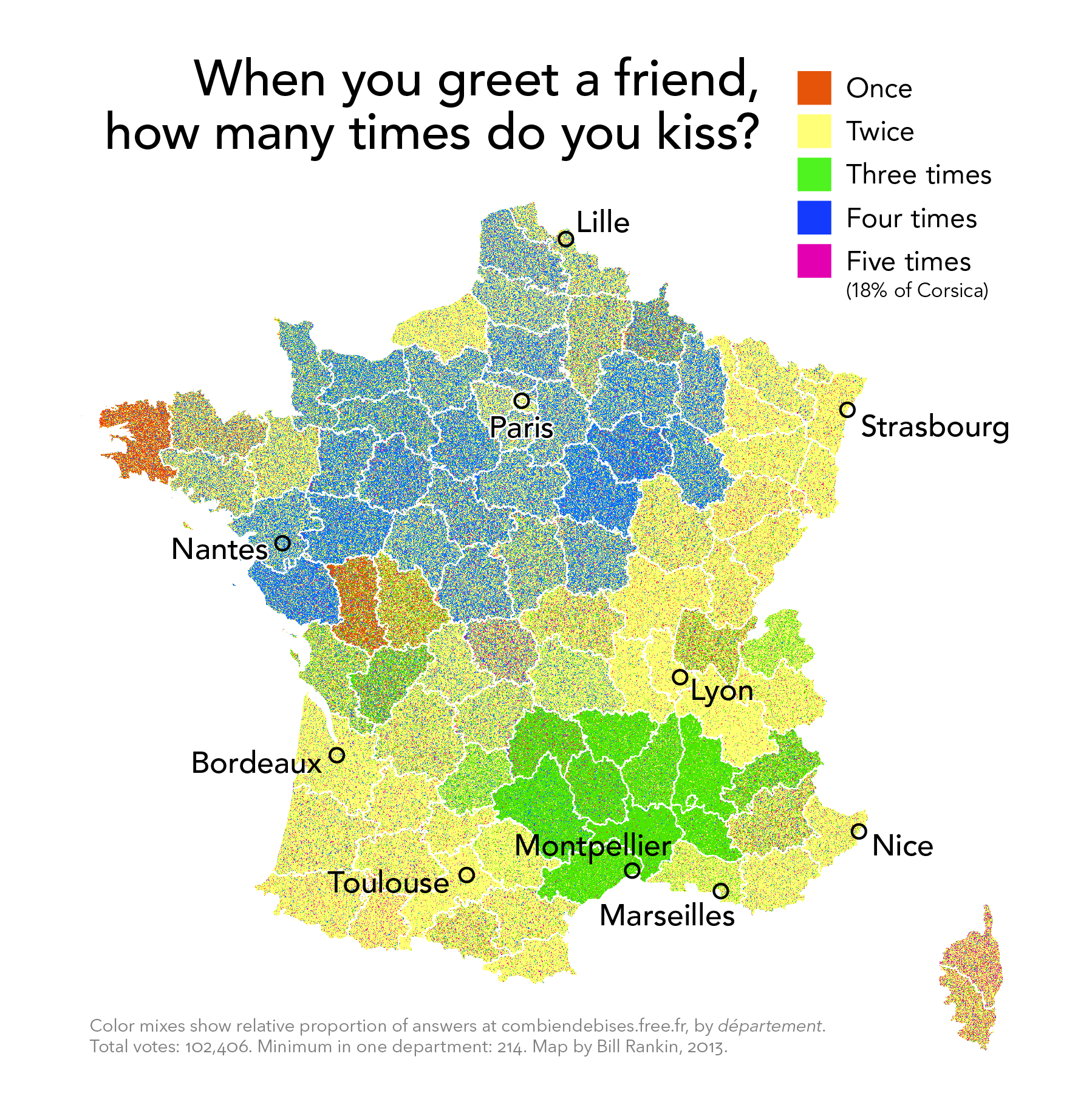 The propensity of cheekbased kisses in France mapped Vox