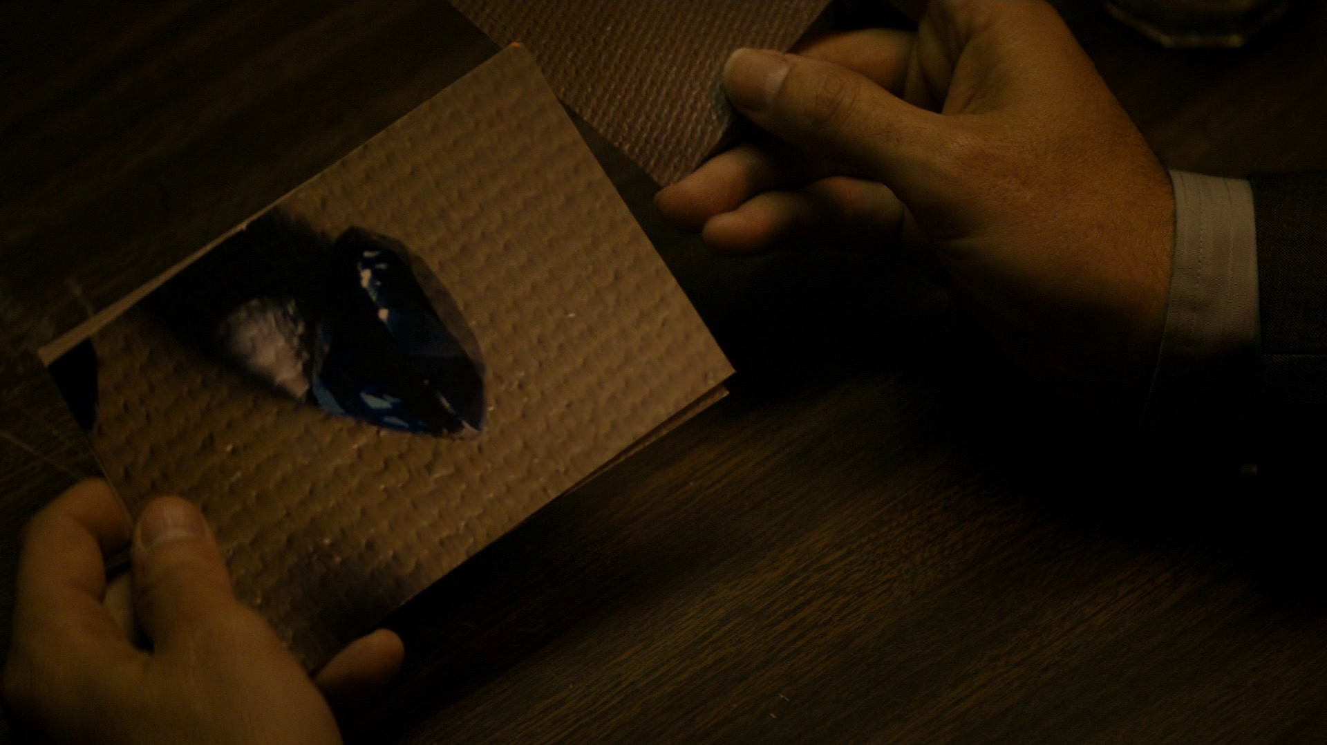 Ray looks at Vera's pictures of the blue diamonds