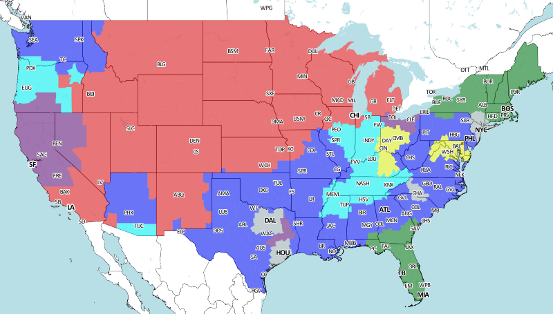 nfl broadcast map directv nfl sunday ticket