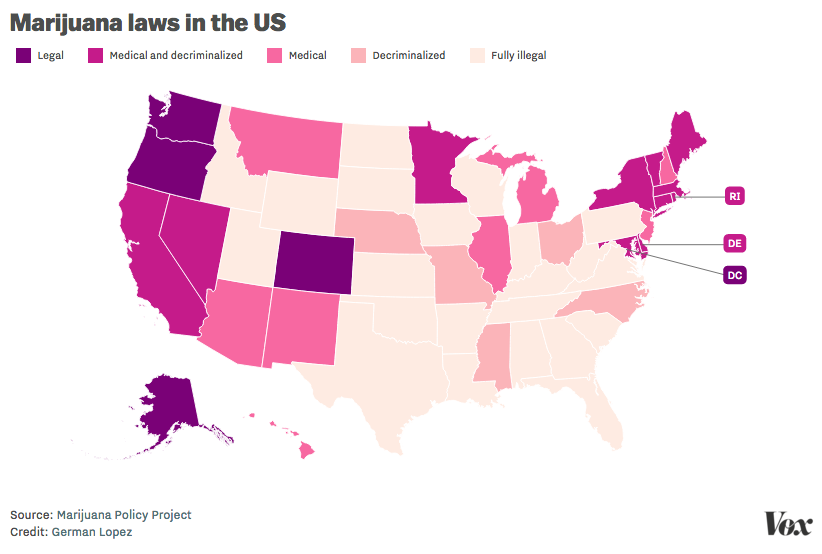delaware just decriminalized marijuana here s where other states stand vox