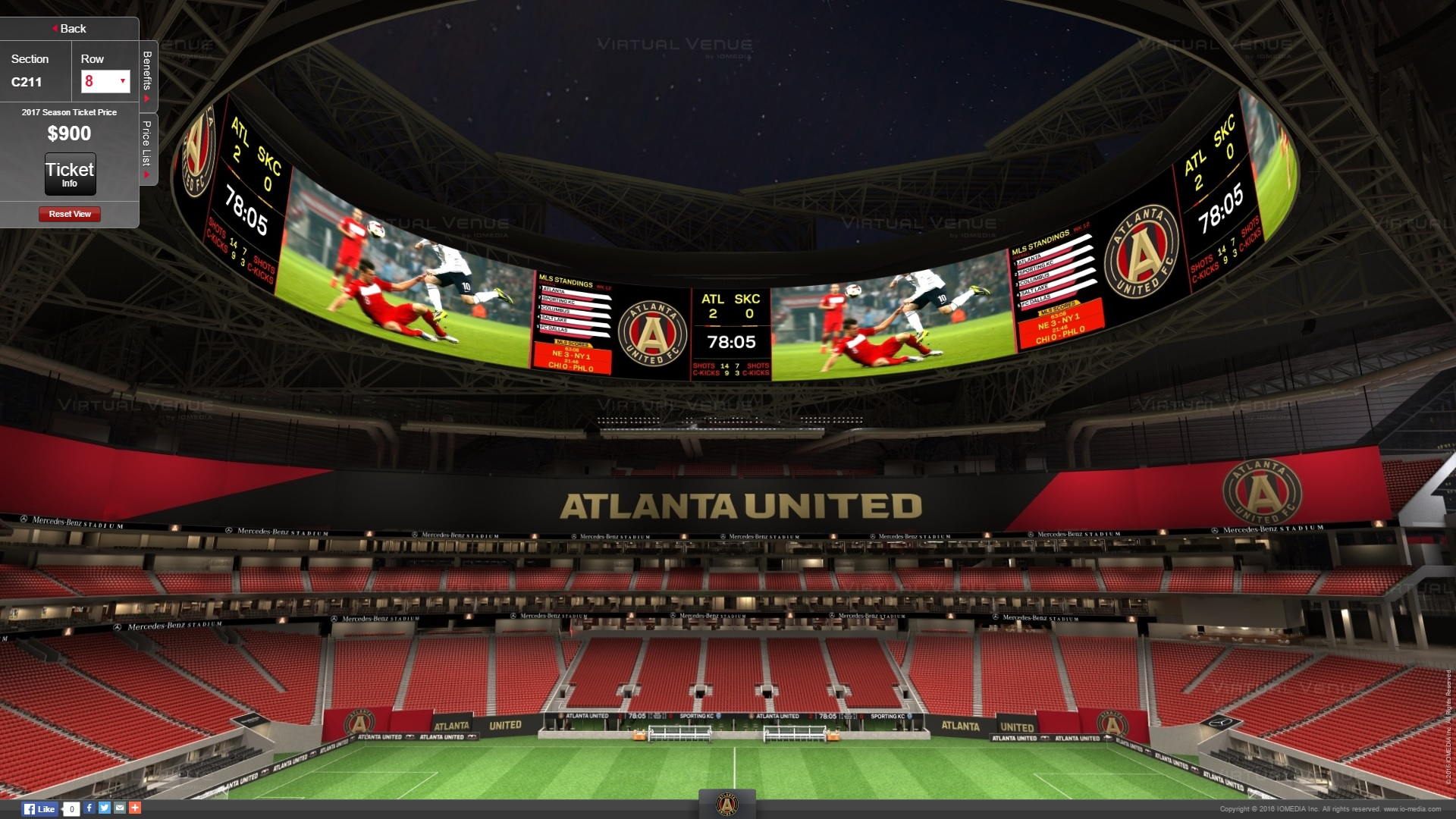 Atlanta united 39 s virtual venue seating for mercedes benz for Mercedes benz stadium calendar