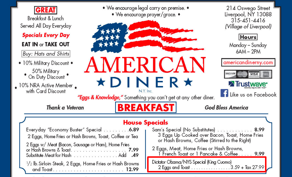 this diner is serving a dictator obama breakfast special