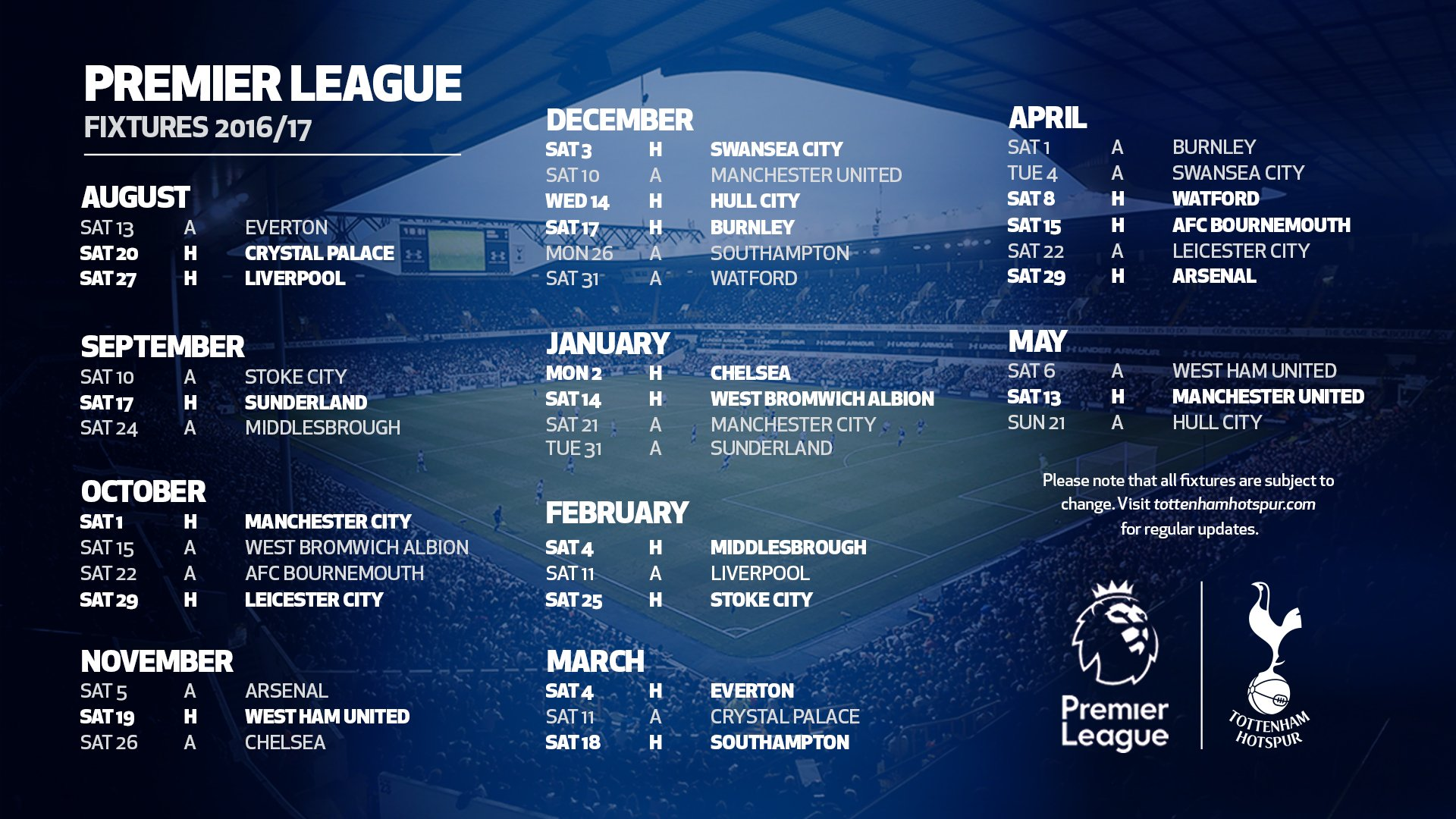 Tottenham s 2016 17 league schedule is released and november will be brutal cartilage free for Premier league table 2016
