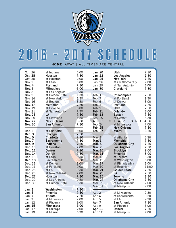 picture about Printable Pacers Schedule titled The 2016-17 Mavericks routine, printable and as wallpaper