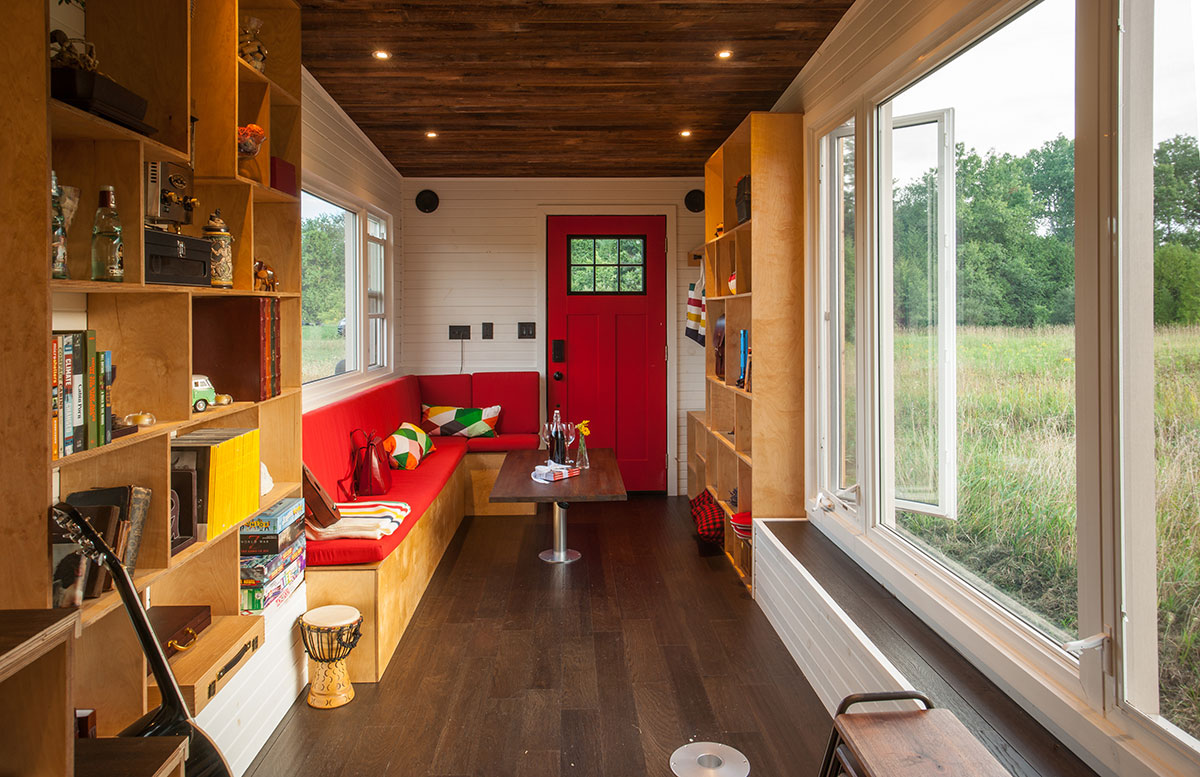 Eco friendly tiny house offers reclaimed style and drawbridge deck
