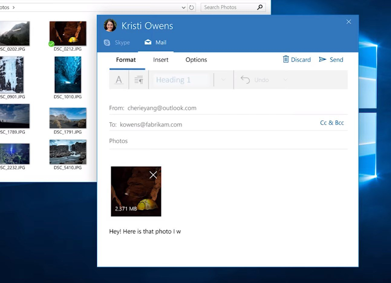 Windows 10 people bar
