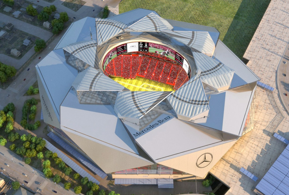 At atlanta falcons mercedes benz stadium extraordinary for Mercedes benz stadium roof