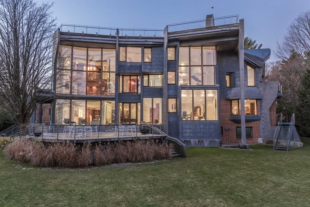 Brookline contemporary includes 20 foot windows elevator for Contemporary homes for sale in ma