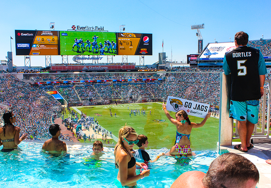 Nfl luxury suites touring the most tricked out stadium - Jacksonville jaguars swimming pool ...