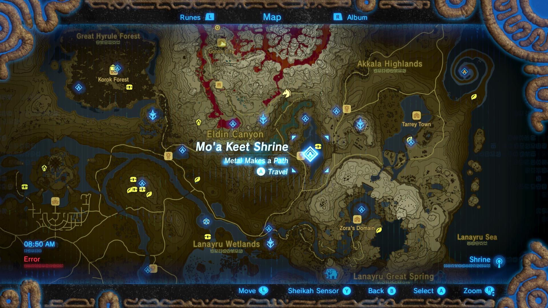 Zelda: Breath of the Wild guide: Mo'a Keet shrine location