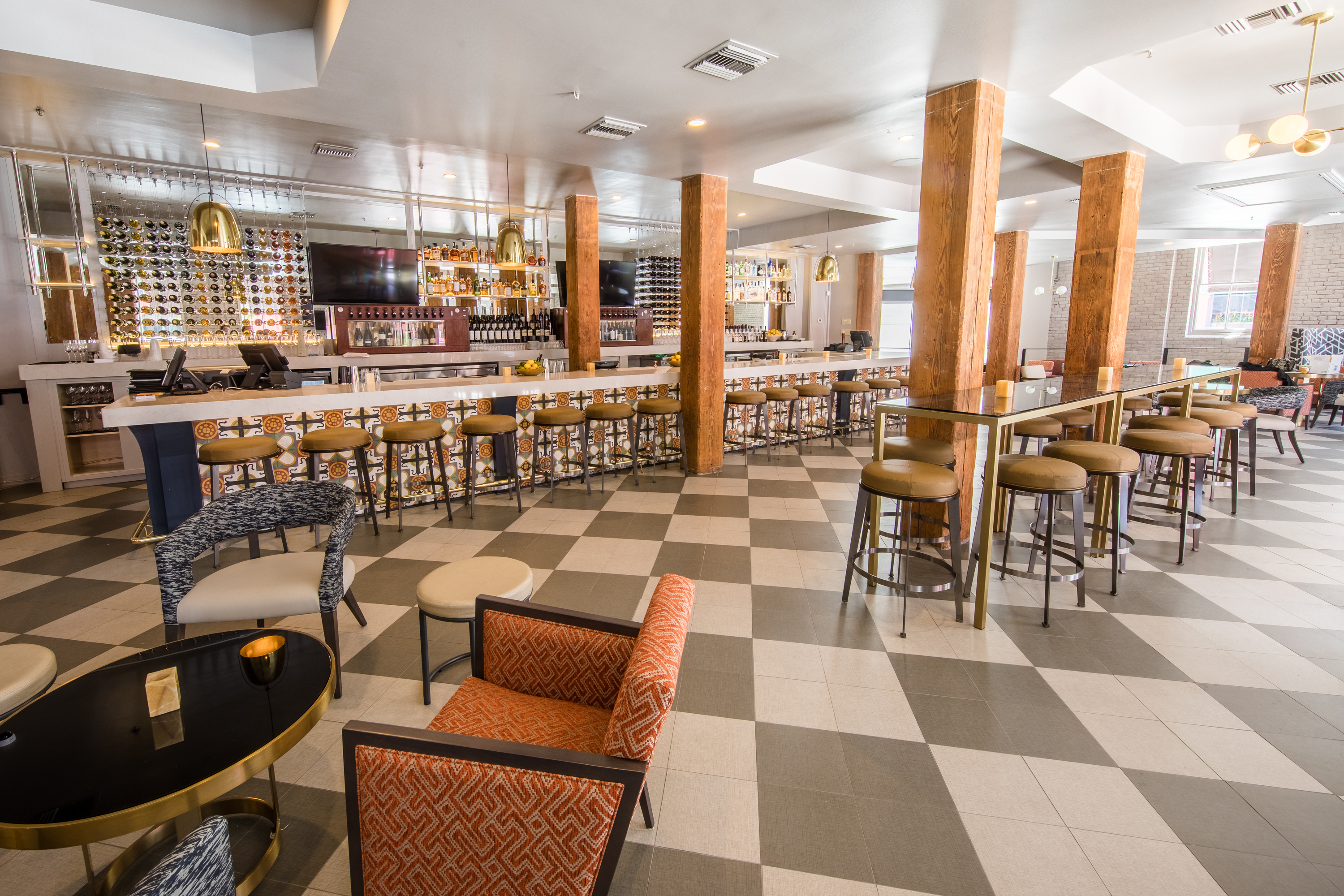 Guests From Tommys Wine Bar Will Recognize The Large Cypress Columns That Remain At NOSH