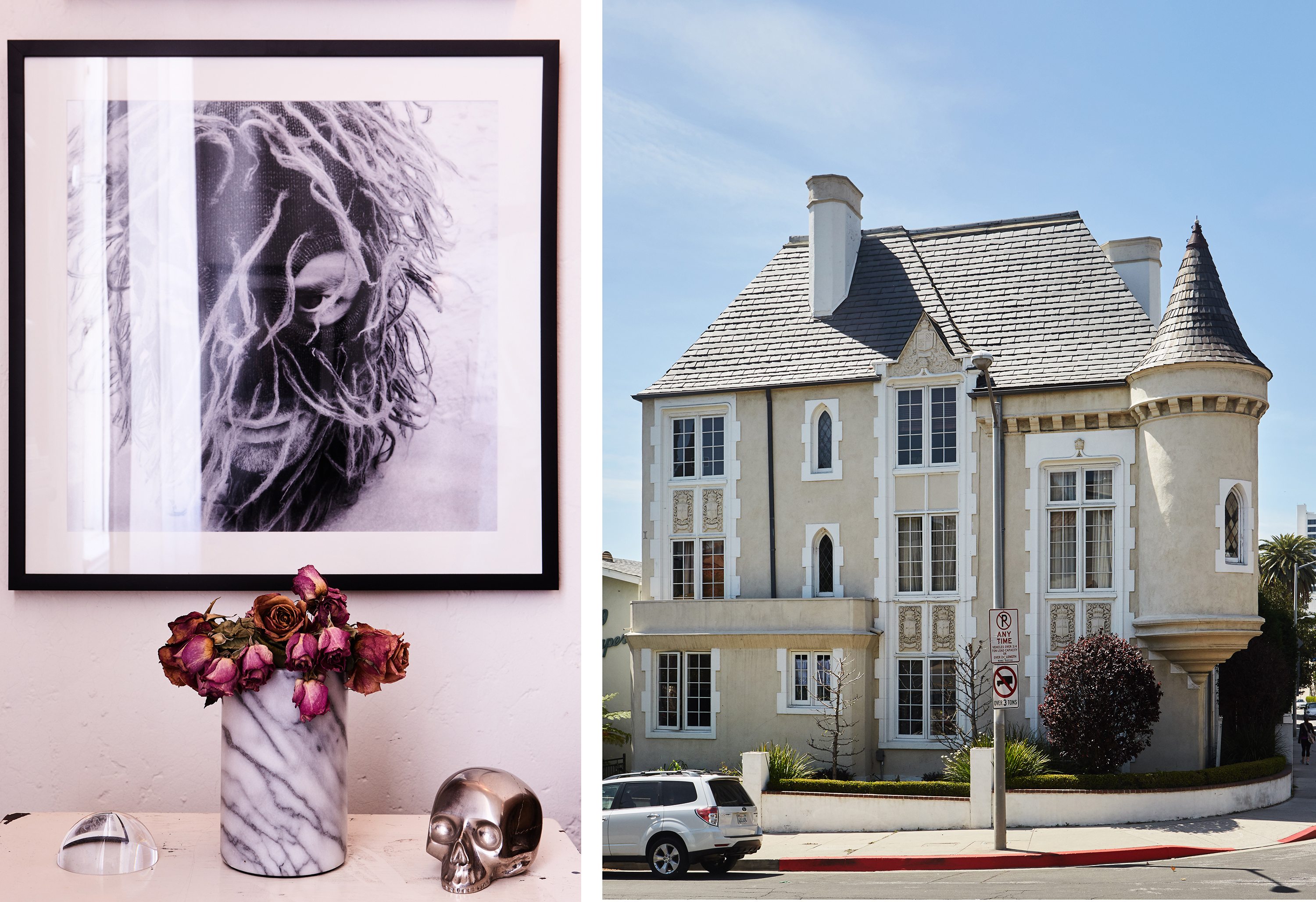 A black-and-white photo hangs over a vase of decaying roses. The exterior of Paglialonga's home is done in a romantic chateau style, complete with turrets.