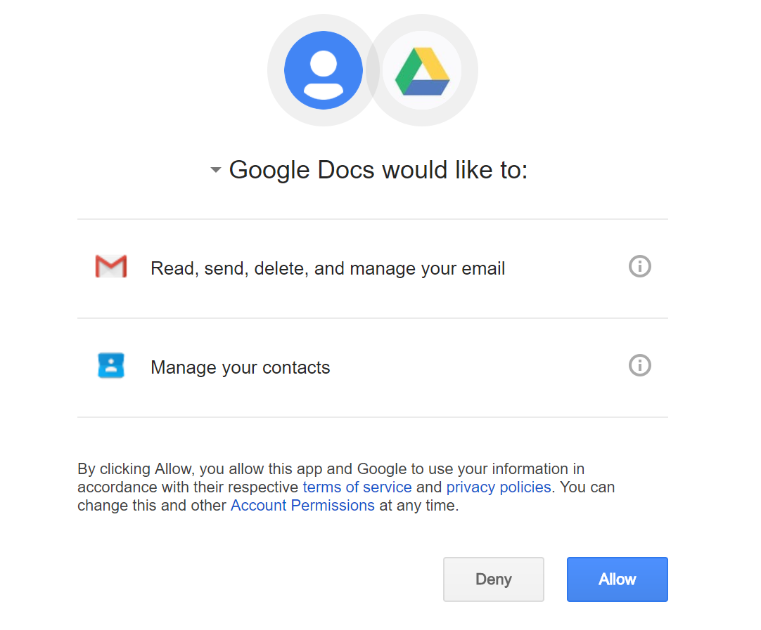 Google Docs phishing screen