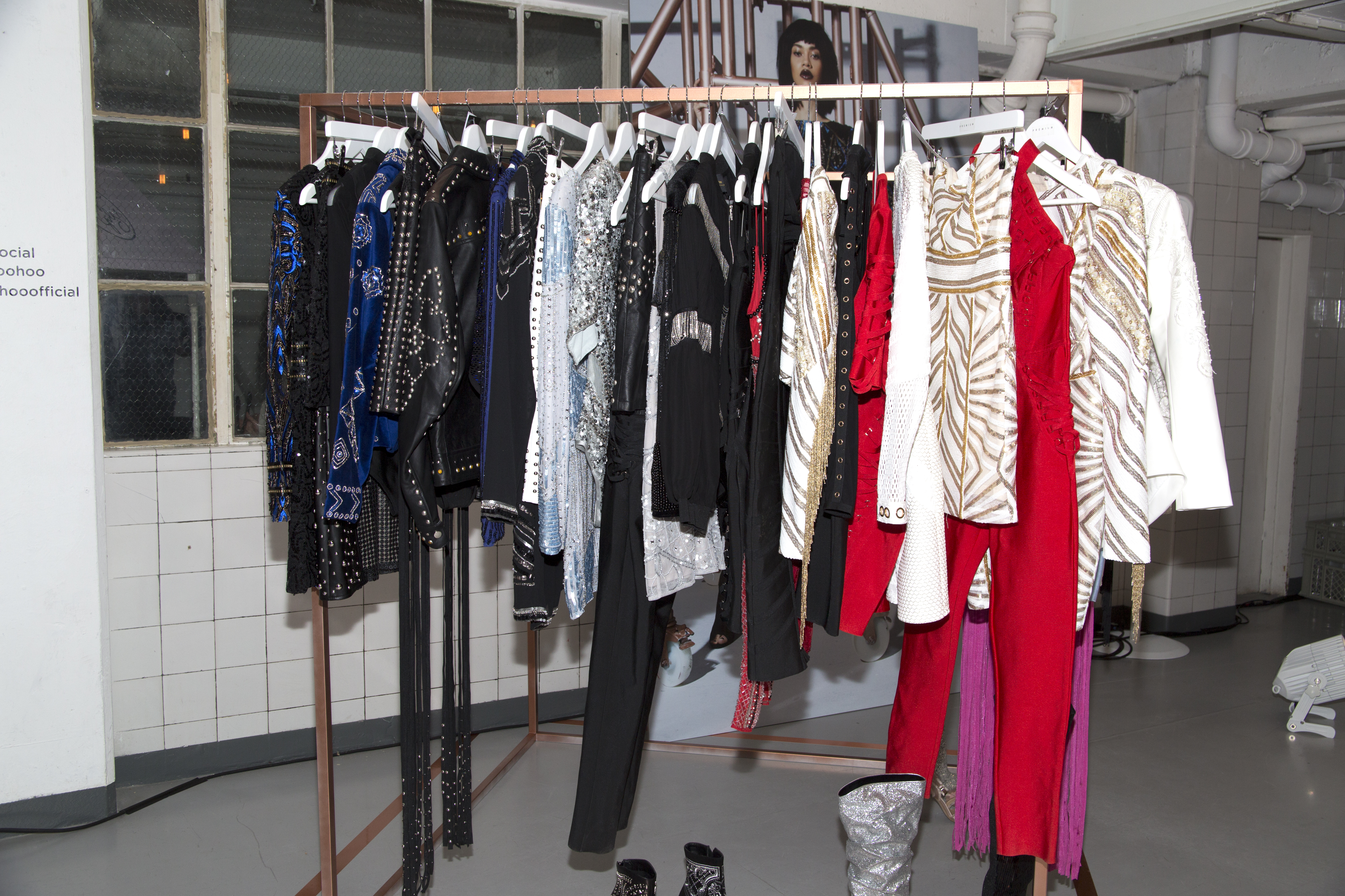 Racked of clothing at Boohoo press preview