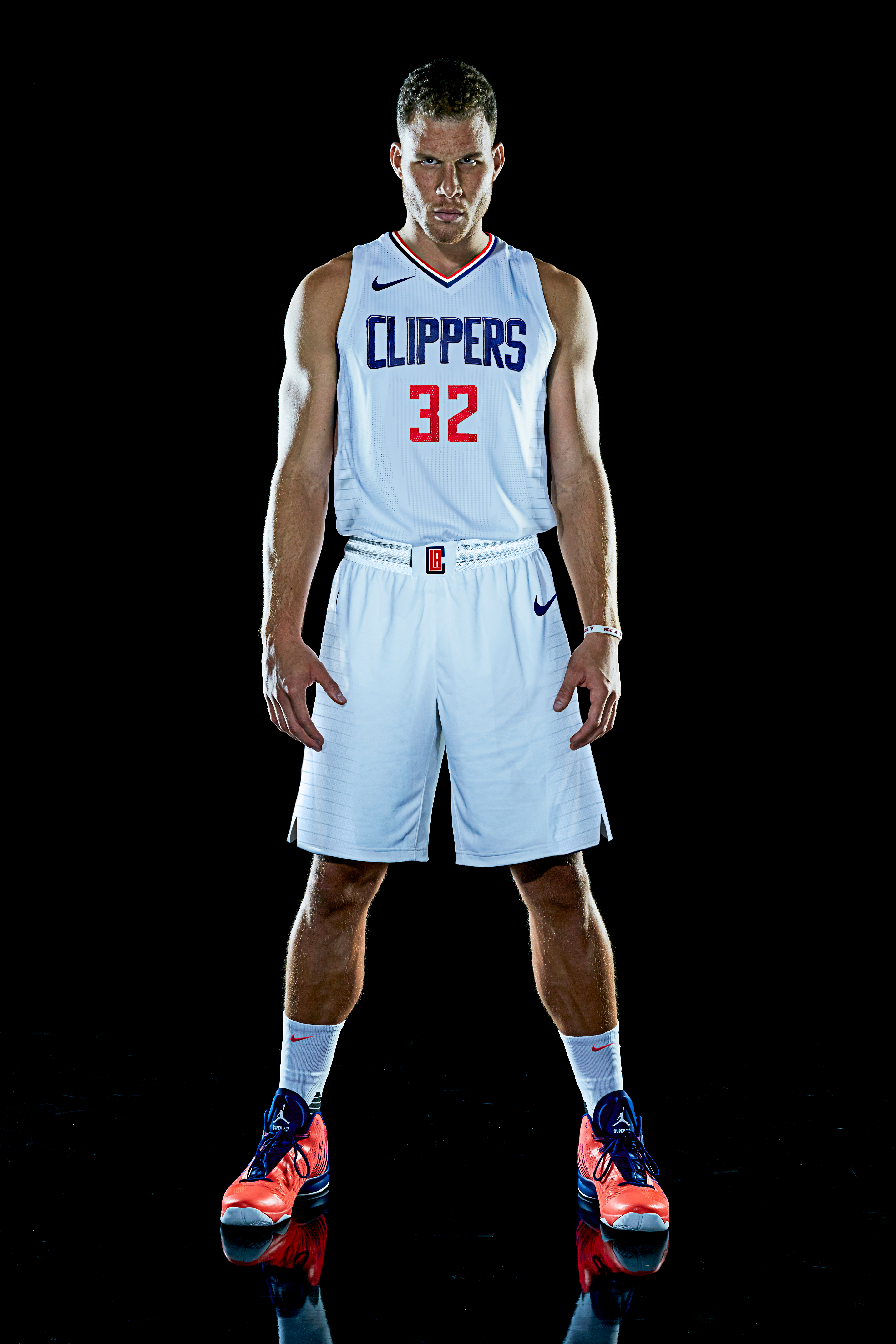 "47f553a5 Front view of Blake Griffin wearing the Clippers' new white ""Association  edition"" jersey. Clippers PR"